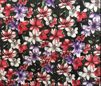 Black/Red, Purple, Ivory Floral Scuba Knit
