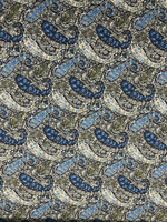Cornflower Blue/Sable Brown Paisley Pima Cotton Shirting