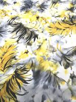 Cream/Yellow/Grey Leaf Print Scuba Knit