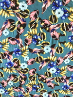 Teal Green Tropical Print Viscose Poplin