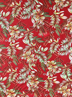 Island Tropical Print Rayon Poplin-Red