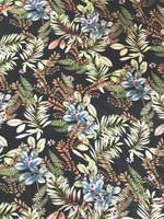 Island Tropical Print Rayon Poplin-Black
