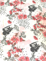 White/Pink/Strawberry/Red Floral Viscose Poplin