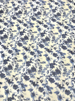 White and Blue Pansy Cotton Voile