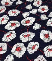 Navy/White, Red Floral Viscose Poplin