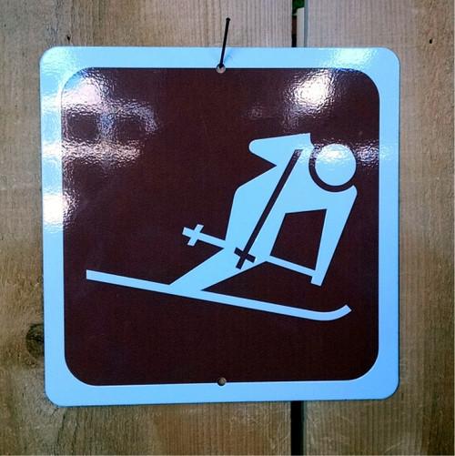 Downhill Alpine Skiing Recreation Symbol Sign