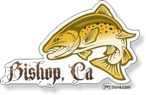 Jumping Brown Trout Bishop Fishing Sticker