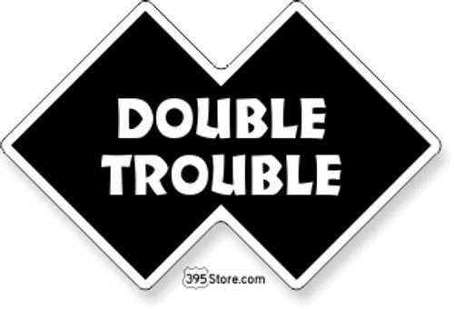 Double Trouble Snow Ski Sticker