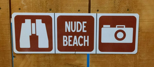 Nude Beach Binoculars Sign