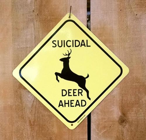 Suicidal Deer Crossing Sign