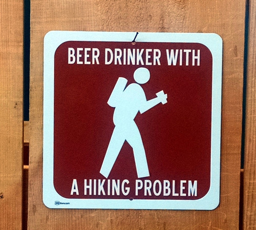 """""""Beer Drinker with a Hiking Problem"""" Recreation Symbol Sign"""