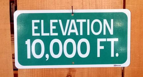 Elevation 10,000 Ft. Road Sign