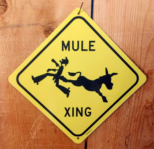 Mule Kicking Crossing Sign