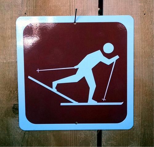 Crosscountry Skier Recreation Symbol Sign