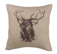 Elk Bust Linen Pillow