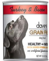 Dave's Grain Free Canned Dog Food, Turkey & Bacon, 13 oz.
