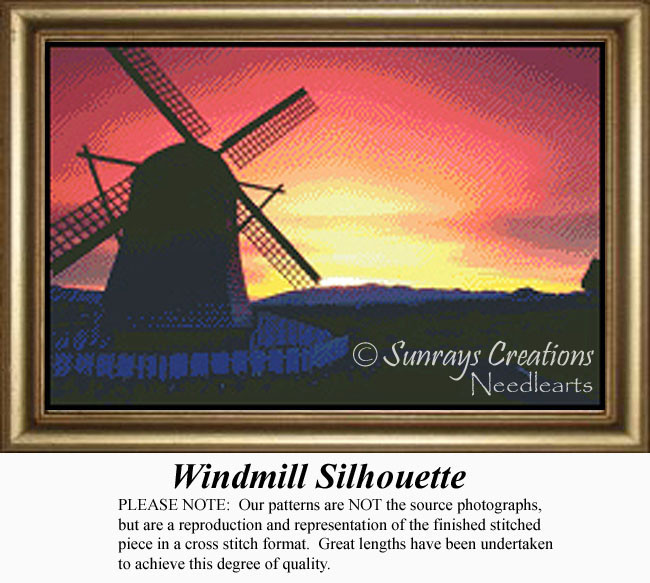 Windmills Counted Cross Stitch Pattern