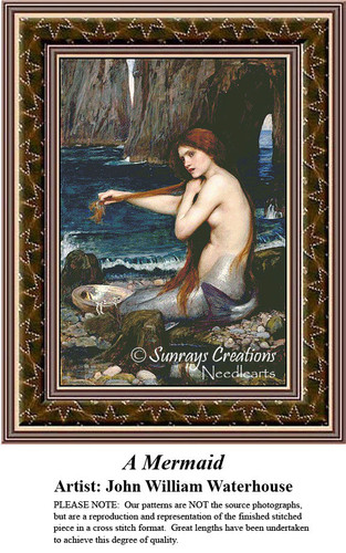 Fine Art Counted Cross Stitch Patterns | A Mermaid
