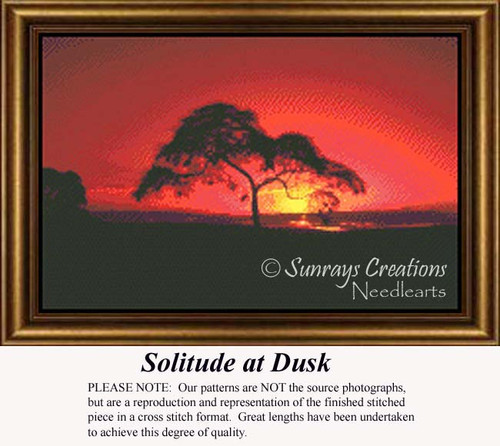 Solitude at Dusk, Trees Counted Cross Stitch Pattern