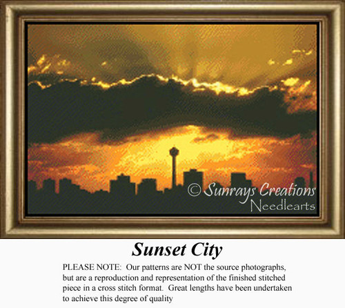 Sunset City, Skyscapes Counted Cross Stitch Pattern