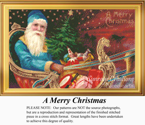 A Merry Christmas, Vintage Counted Cross Stitch Pattern