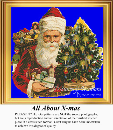 All About X-mas, Vintage Counted Cross Stitch Pattern
