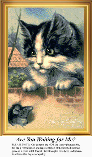 Are You Waiting for Me?, Vintage Counted Cross Stitch Pattern