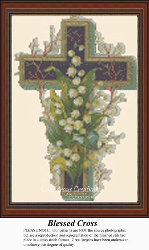 Blessed Cross, Vintage Counted Cross Stitch Pattern