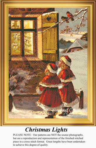 Christmas Lights, Vintage Counted Cross Stitch Pattern