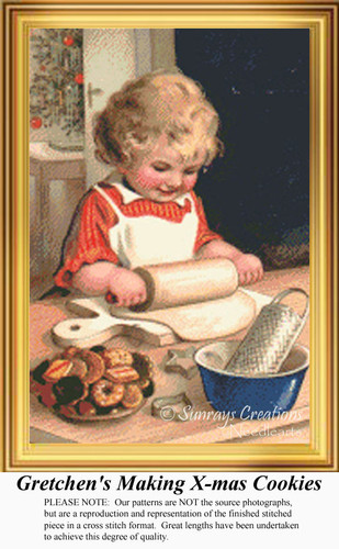 Gretchen's Making X-mas Cookies, Vintage Counted Cross Stitch Pattern