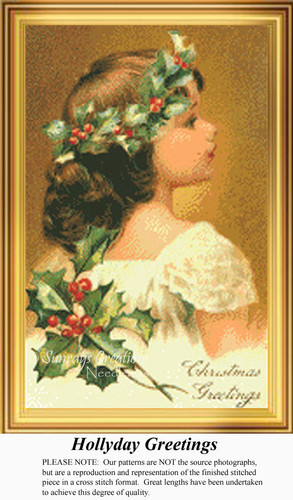 Hollyday Greetings, Vintage Counted Cross Stitch Pattern