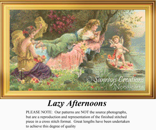 Lazy Afternoons, Vintage Counted Cross Stitch Pattern