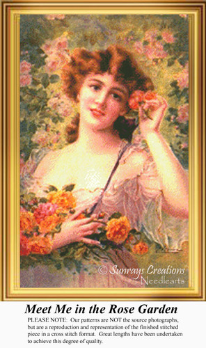 Meet Me in the Rose Garden, Vintage Counted Cross Stitch Pattern
