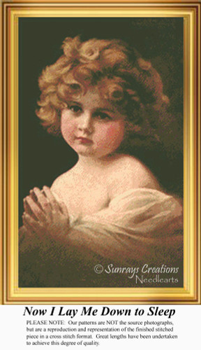 Now I Lay Me Down to Sleep, Vintage Counted Cross Stitch Pattern