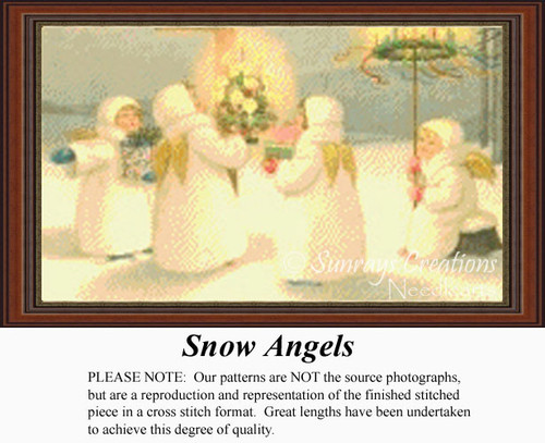 Snow Angels, Vintage Counted Cross Stitch Pattern