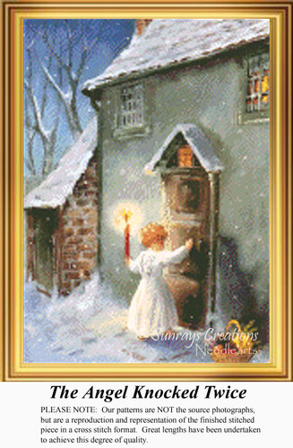 The Angel Knocked Twice, Vintage Counted Cross Stitch Pattern