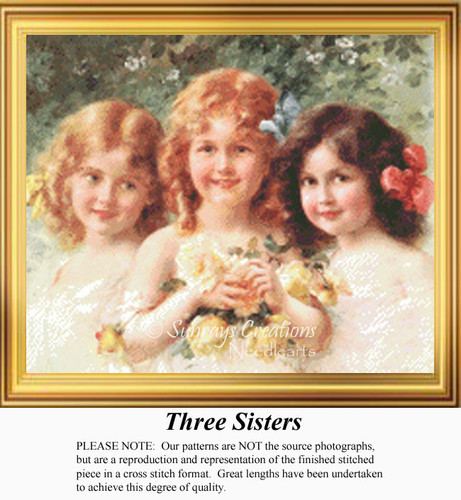 Three Sisters, Vintage Counted Cross Stitch Pattern