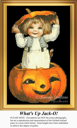 What's Up Jack-O, Vintage Counted Cross Stitch Pattern