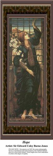Hope, Fine Art Counted Cross Stitch Pattern, Women Counted Cross Stitch Pattern