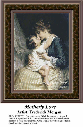 Motherly Love, Fine Art Counted Cross Stitch Pattern, Family Counted Cross Stitch Pattern