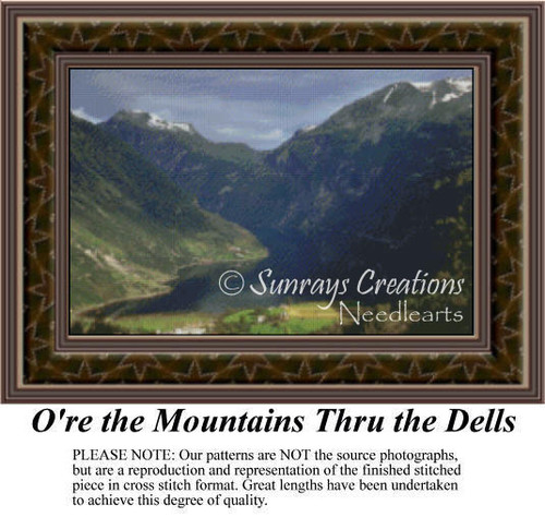 O're the Mountains Thru the Dells, Landscapes Counted Cross Stitch Pattern