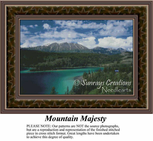 Mountain Majesty, Landscapes Counted Cross Stitch Pattern, Waterscapes Counted Cross Stitch Patterns