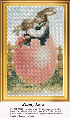 Bunny Love, Easter Miniatures Counted Cross Stitch Pattern