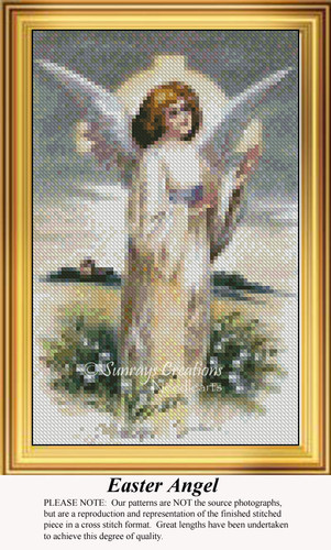 Easter Angel, Angel Counted Cross Stitch Pattern