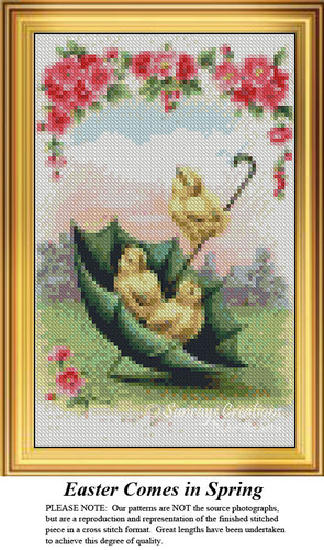 Easter Comes in Spring, Easter Miniatures Counted Cross Stitch Pattern