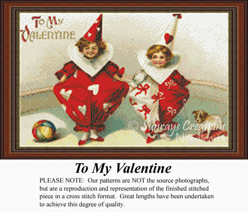 To My Valentine, Vintage Counted Cross Stitch Pattern