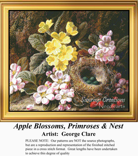 Apple Blossoms, Primroses & Nest, Flowers Counted Cross Stitch Pattern