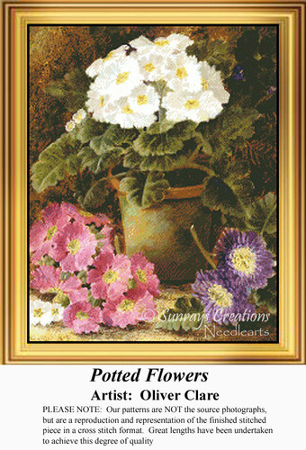 Potted Flowers, Flowers Counted Cross Stitch Pattern