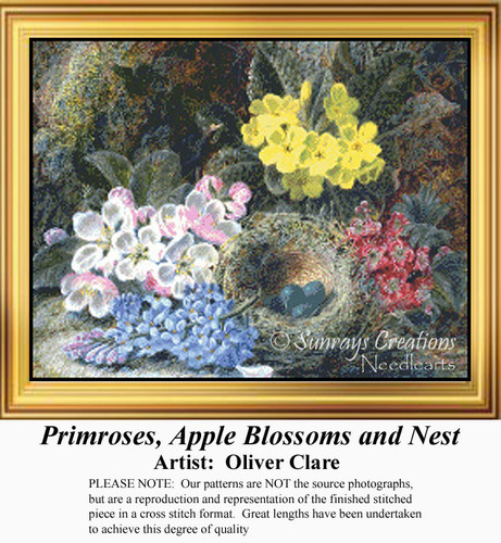 Primroses, Apple Blossoms and Nest, Flowers Counted Cross Stitch Pattern