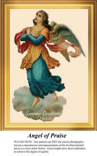 Angel of Praise, Angel Counted Cross Stitch Pattern